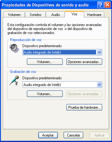 control del sonido para softphone windows